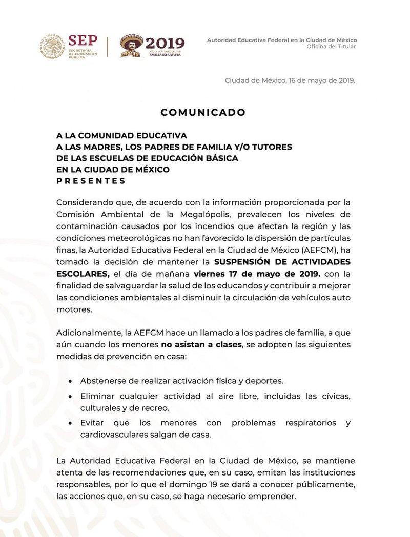 Comunicado SEP