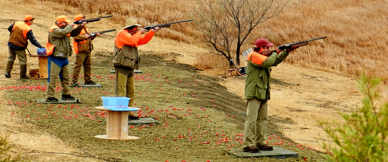 Clay pigeon shooting at Lazy J Grand Lodge, South Dakota