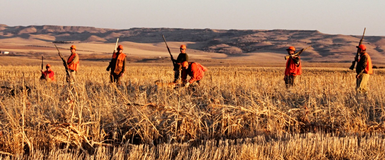 Group of hunters walking long prairie grass