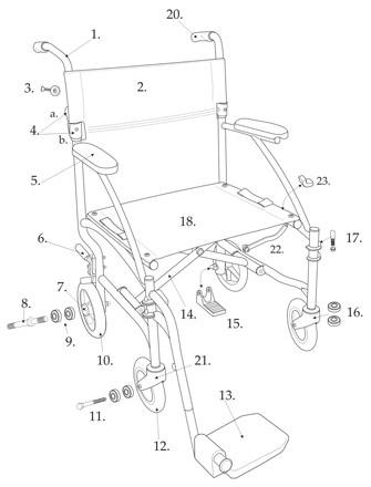 01 - Black Footrest Assembly for DFL19 Transport Chair DFLSFBK-partsDFL-parts.jpg
