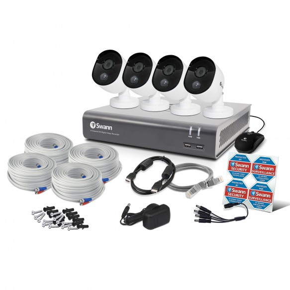 Swann 8 Channel Security System: 1080p Full HD DVR-4575 with 1TB HDD & 4 x 1080p Thermal Sensing Cameras PRO-1080MSB (DVK-4580)-SWANN 8043-TOP RANKED SECURITY.jpg