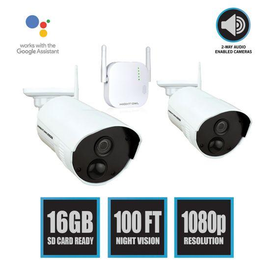 Night Owl 4 Channel 1080p HD Wireless Gateway with 16GB microSD Card and 2 AC Powered Indoor/Outdoor Wireless Cameras-NightOwl2-Top Ranked Security.jpg
