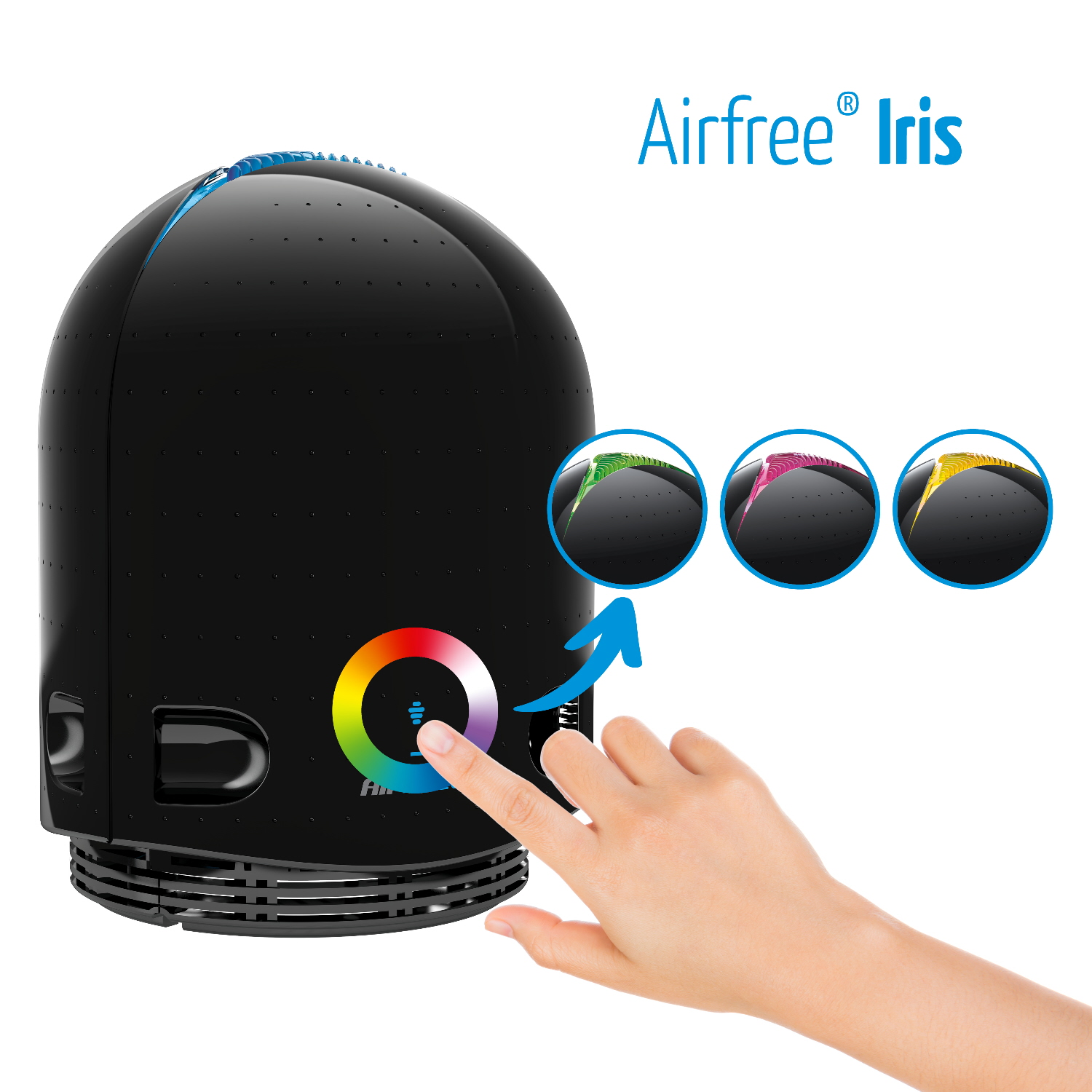 Airfree Iris Air Purifier 650 Sq Ft  Silent Sterilizing Thermodynamic System-Airfree_Iris_colors_change.jpg