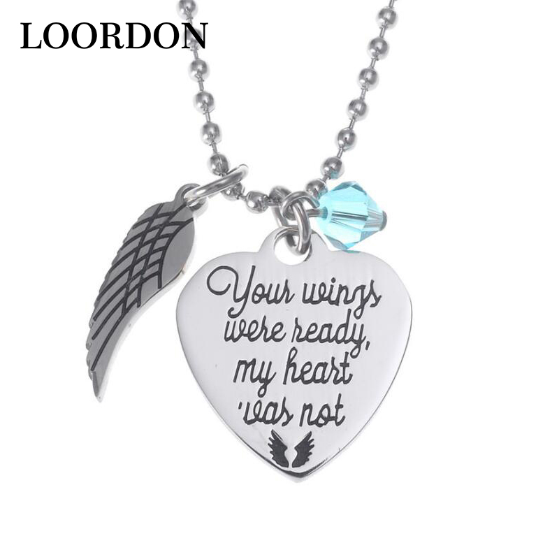 Angel Wing Necklace Your Wings Were Ready, My Heart Was Not - Stainless Steel Beaded Chain, Free Gift Bag-Loordon-Angle-Wing-Necklace-Disc-Engraved-Inspired-Quotes-Your-wings-were-ready-Stainless-Steel-Beaded-Chain.jpg