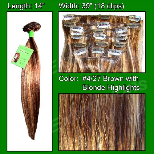 14 Inch Clip In Human Hair, Dark Brown w/ Golden Blonde Highlights-6a Dark Brown with Golden Blonde Highlights - 14 inch.jpg