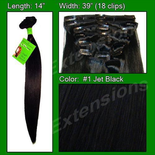 14 Inch Clip In Human Hair, Jet Black-SKU PRST-14-1   PRO-3001  #1 JET BLACK.jpg