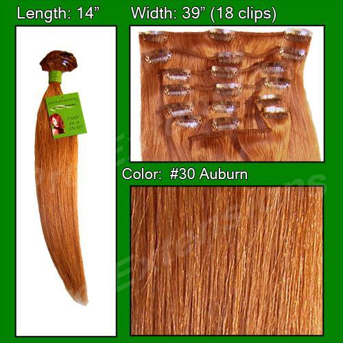 14  Inch Clip In Human Hair, Auburn-SKU PRST-14-30   PRO-3011  #30 ALBURN.jpg