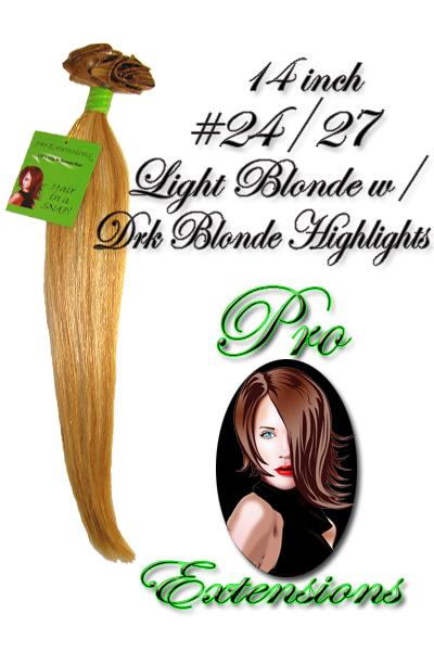 14 Inch Clip In Human Hair, Light Blonde w/ Dark Blonde Highlights-1c Light Blonde with Dark Blonde Highlights - 14 inch.jpg