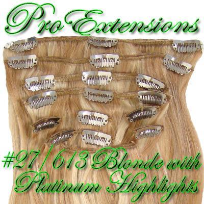 14 Inch Clip In Human Hair, Golden Blonde w Platinum Highlights-3d Golden Blonde with Platinum Highlights - 14 inch.jpg