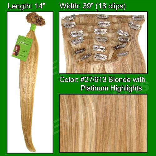 14 Inch Clip In Human Hair, Golden Blonde w Platinum Highlights-3a Golden Blonde with Platinum Highlights - 14 inch.jpg