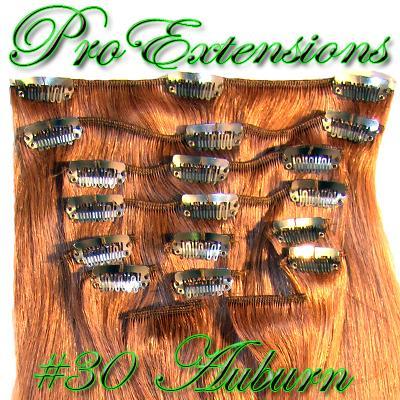14  Inch Clip In Human Hair, Auburn-4d Auburn - 14 inch.jpg