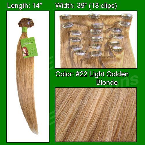 14 Inch Clip In Human Hair, Medium Golden Brown-SKU PRST-14-22   PRO-3006   #22 MEDIUM GOLDEN BLONDE.jpg