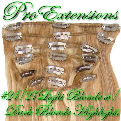 14 Inch Clip In Human Hair, Light Blonde w/ Dark Blonde Highlights-1d Light Blonde with Dark Blonde Highlights - 14 inch.jpg