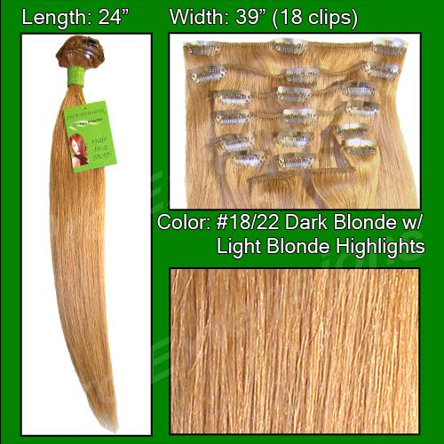 24 Inch Pro Premier Remy Hair, Dark Blonde with Golden Highlights-10a Dark Blonde with Golden Highlights - 24 inch Remy.jpg