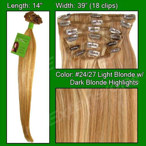 14 Inch Clip In Human Hair, Light Blonde w/ Dark Blonde Highlights-SKU PRST-14-2427  PRO-3008  #24-27 LIGHT BLONDE W DARK BLONDE HIGHLIGHTS.jpg
