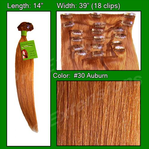 14  Inch Clip In Human Hair, Auburn-4a Auburn - 14 inch.jpg