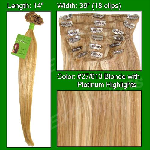 14 Inch Clip In Human Hair, Golden Blonde w Platinum Highlights-SKU PRST-14-27613    PRO-3010  GOLDEN BLONDE W PLATINUM HIGHLIGHTS.jpg
