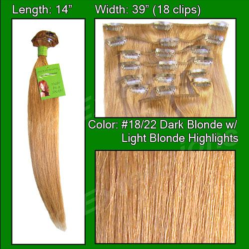 14 Inch Clip In Human Hair, Dark Blonde with Light Blonde Highlight-SKU PRST-14-1822  PRO-3003   #18-22  DARK BLONDE W LIGHT HIGHLIGHTS.jpg