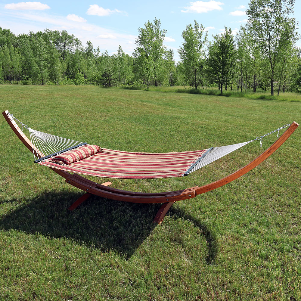 2-Person Hammock with Wood Stand, Red Stripe