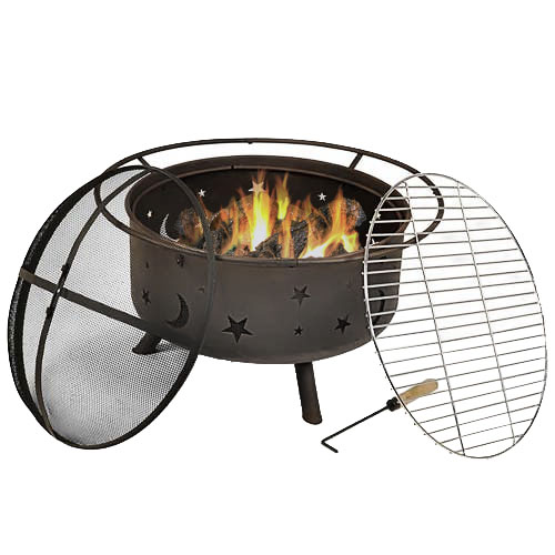 Cosmic Fire Pit with Cooking Grill and Spark Screen