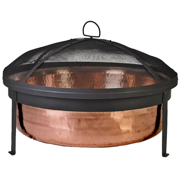 Solid 100-Percent Copper Fire Pit with Stand Screen and Cover-Solid 100-Percent Copper Fire Pit with Stand Screen and Cover1.PNG