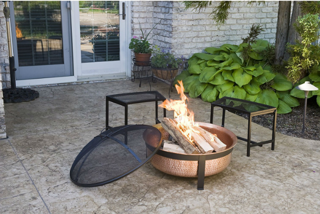 Solid 100-Percent Copper Fire Pit with Stand Screen and Cover-Solid 100-Percent Copper Fire Pit with Stand Screen and Cover3.PNG