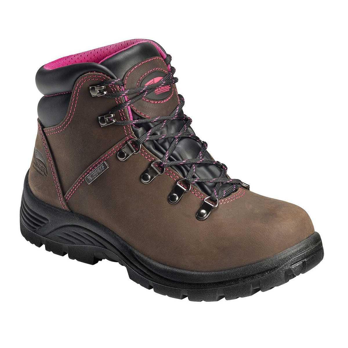 Avenger Women's Brown/Pink Steel Toe Waterproof Hiker - A7125-csgbotw1000044884_-00_avenger-womens-brown-pink-steel-toe-waterproof-hiker.jpg