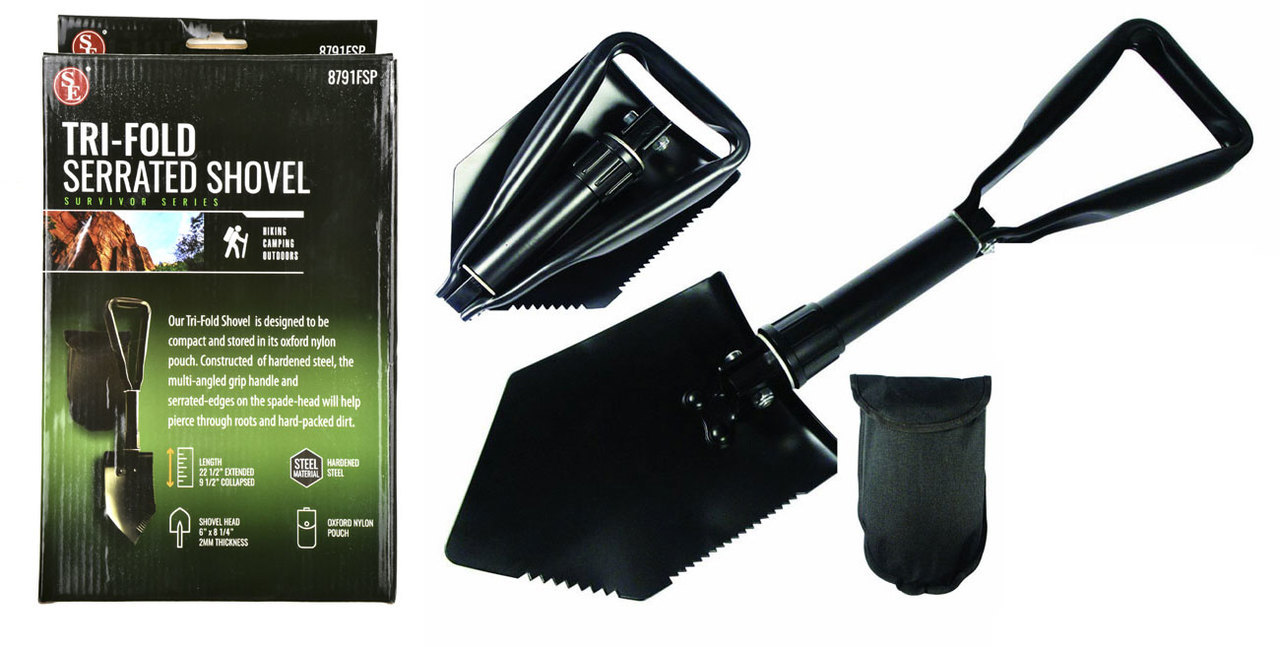 "22-1/2"" Premium Quality Black Tri Fold Shovel with Carrying Case-8791FSP__61372.1526572456.jpg"