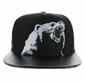 Fierce Bear Flat Leather Bill Snapback Cap-SM457-01__26074.1526289653.jpg