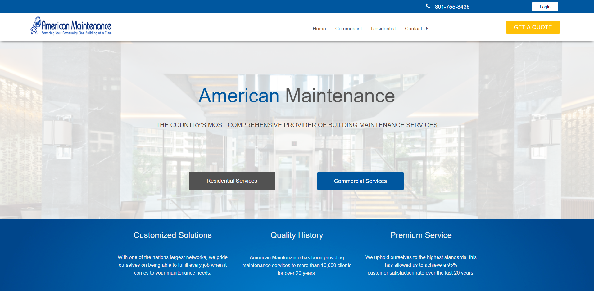 Image of the American Maintenance website displaying the Web Design by EliteWorks Premium Support