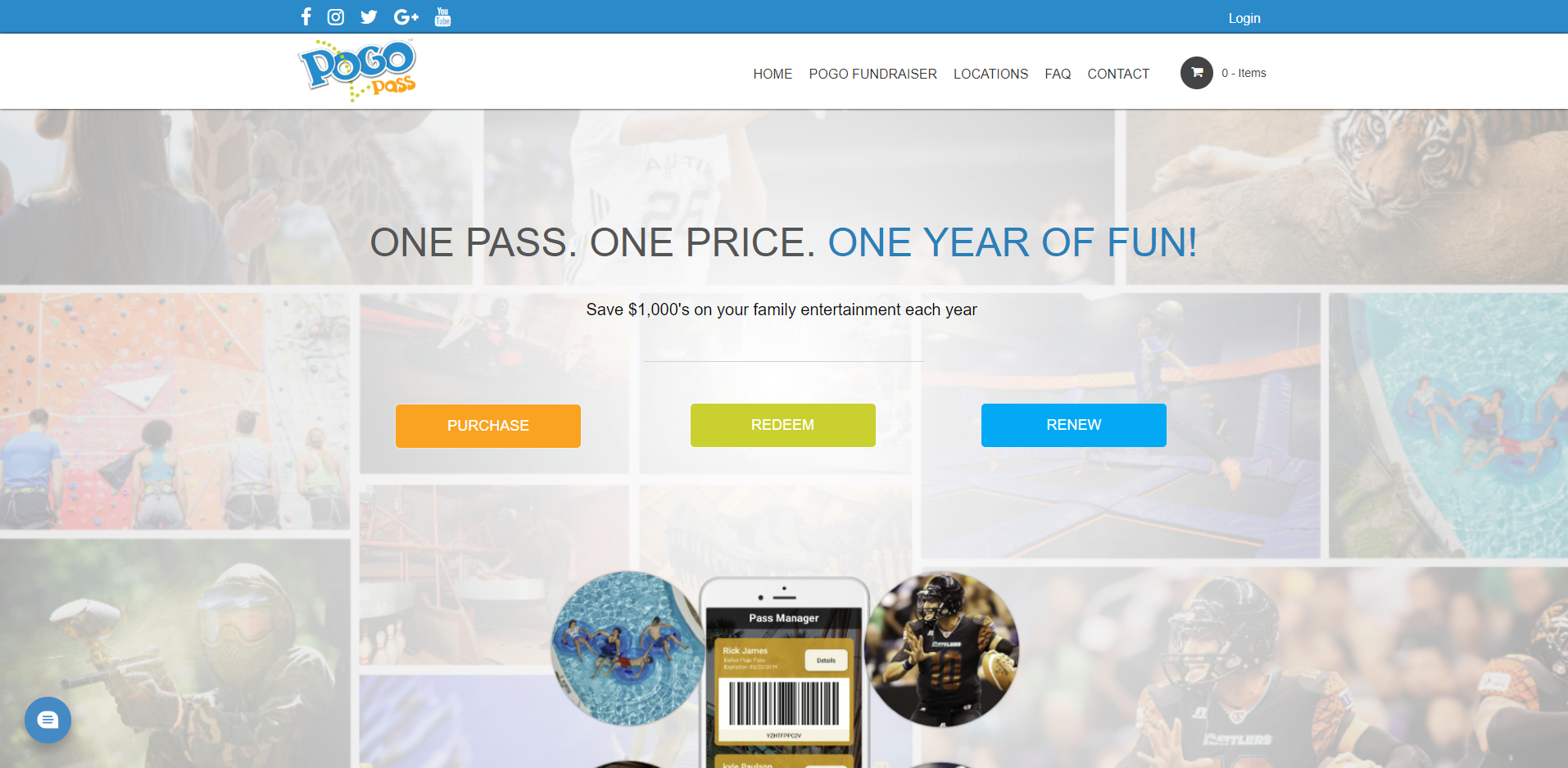 Image of the Pogo Pass website displaying the Web Design by EliteWorks Premium Support
