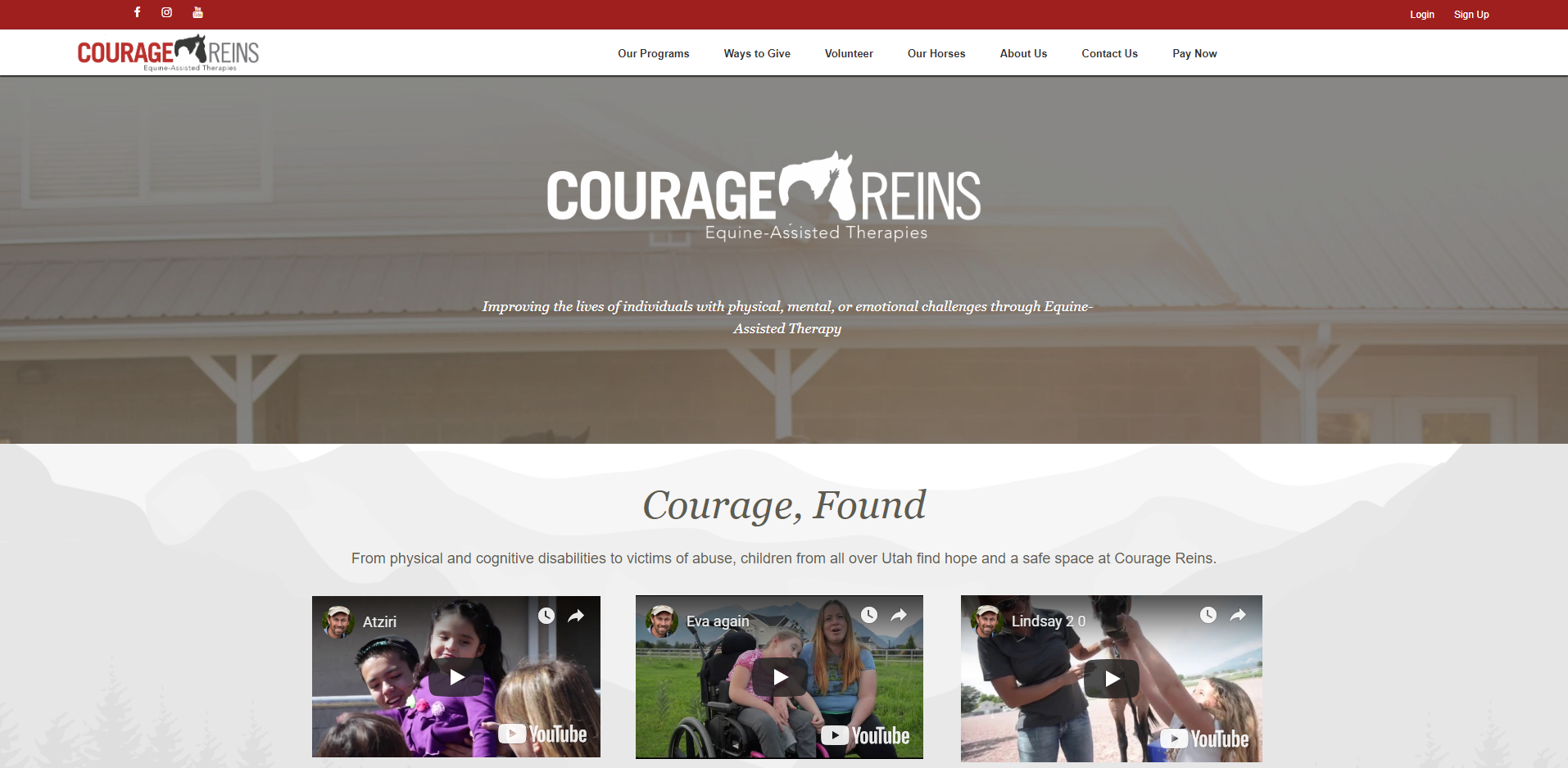 Image of the Courage Reins website displaying the Web Design by EliteWorks Premium Support