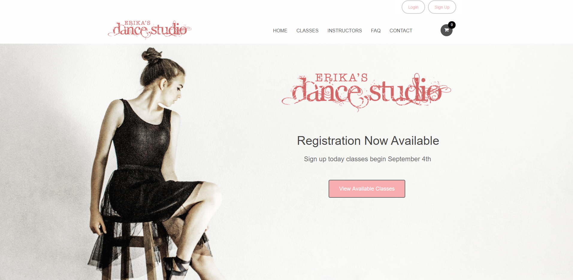 Image of Erika's Dance Studio website displaying the Web Design by EliteWorks Premium Support