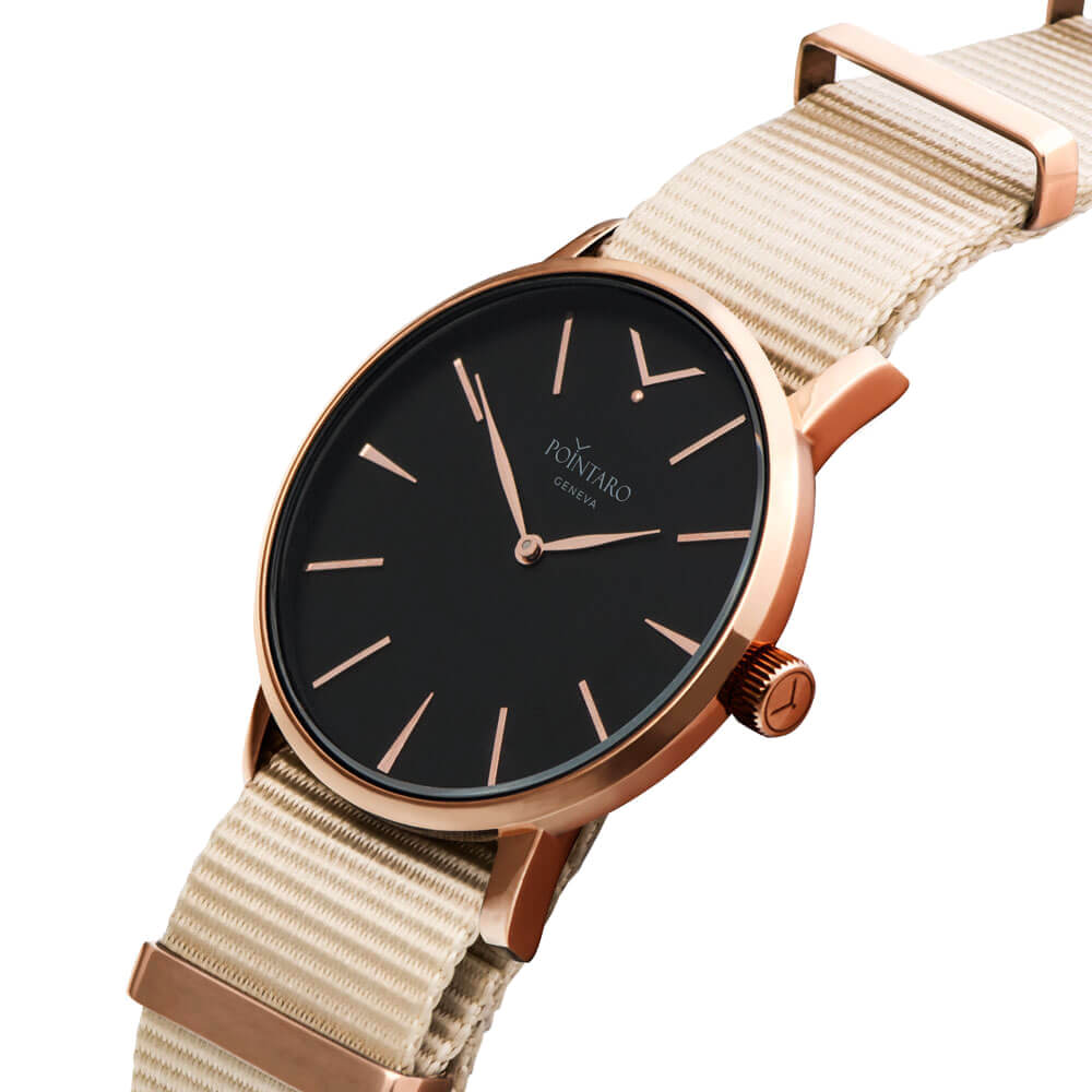 Black And Rose Gold Watch - Rose Gold Case - Black Face - Cream Nylon Nato Strap - Swiss Quartz