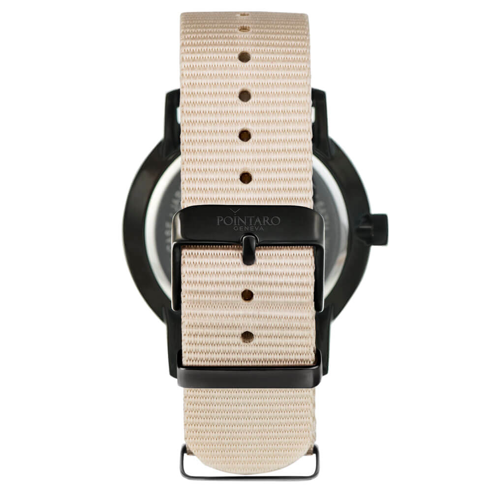 Black And Cream Watch - Black Watch - Black Case Black Dial Watch - Cream Nato Strap - Swiss Watch