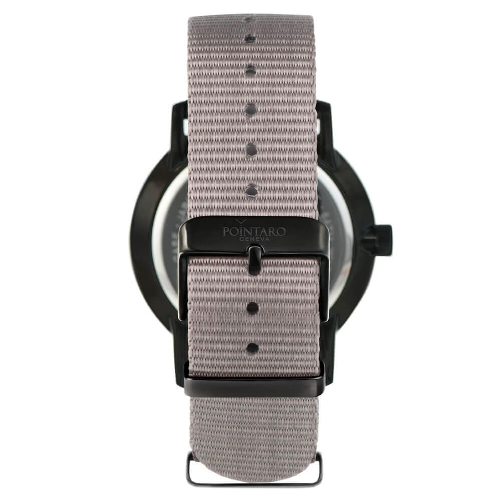 Men's White And Black Watch - Black Case - White Face - Gray Nylon Nato Strap -  Quartz Watch
