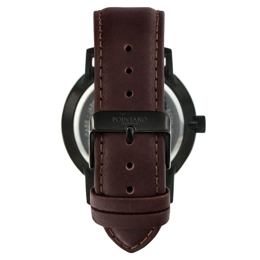 Black And White Watch - Black Case - White Face - Dark Brown Leather Watch- Quartz Watch