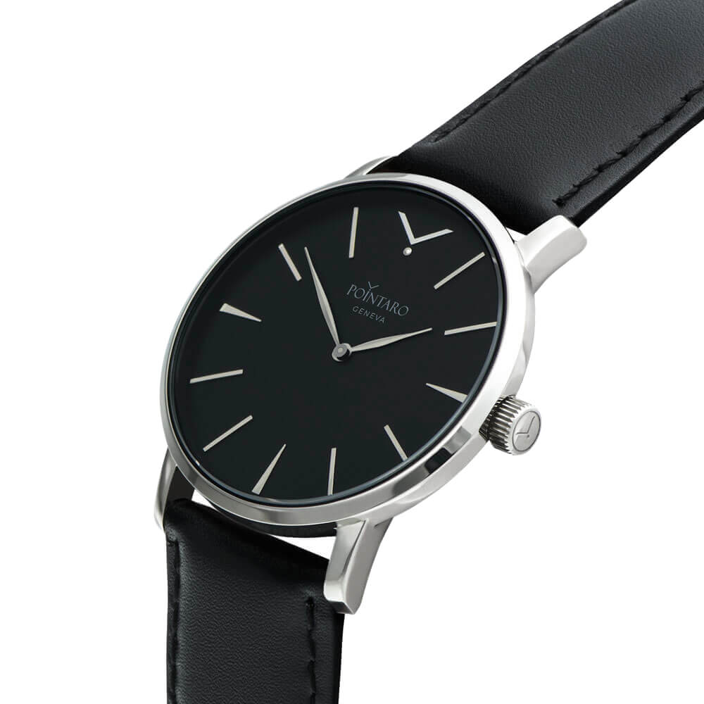 Silver Watch With Black Fase - Black And Silver Watch - Black Genuine Leather Strap - Quartz Watch