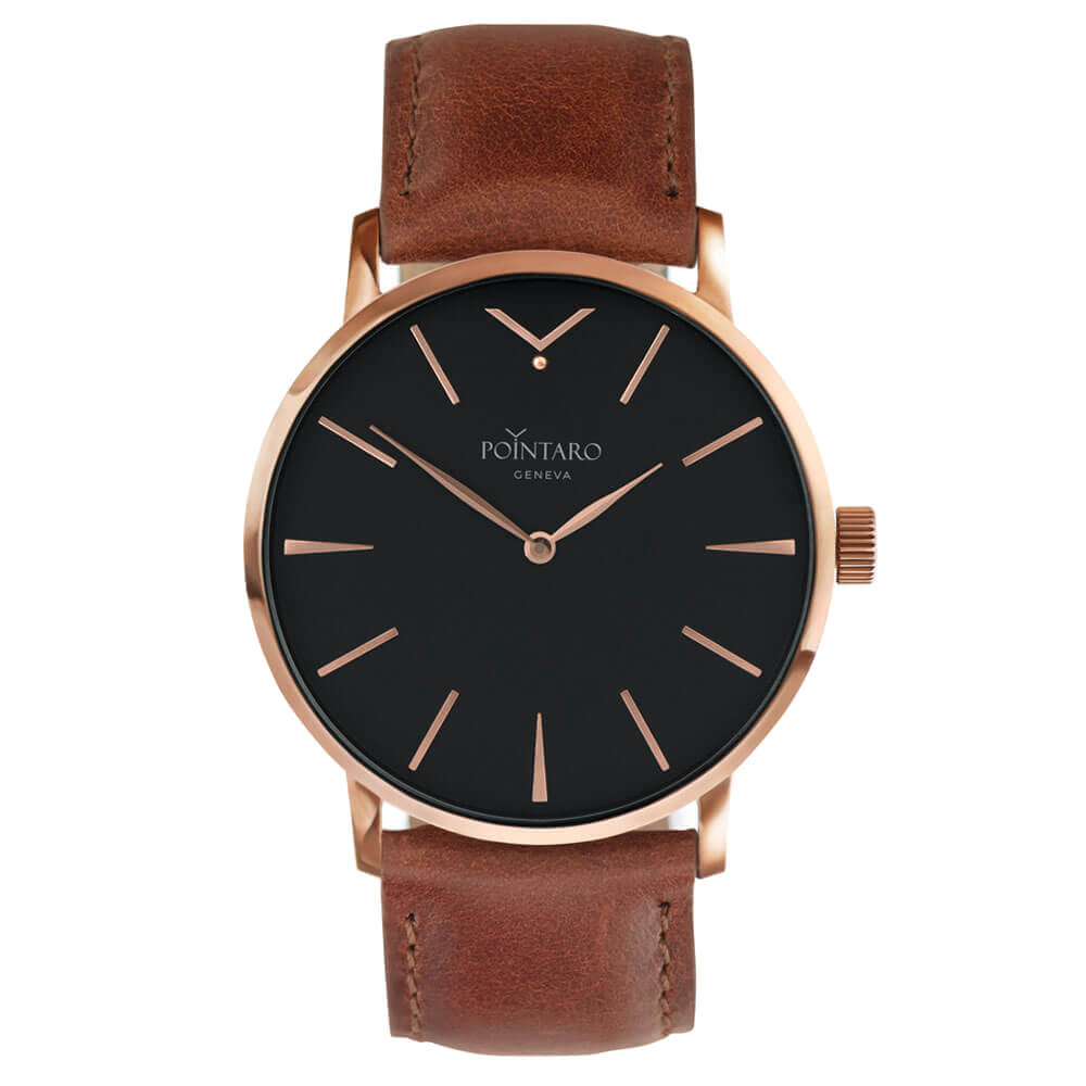 Black And Rose Gold Watch - Light Brown Genuine Leather Strap - Black Face - Rose Gold Case - Swiss Watch