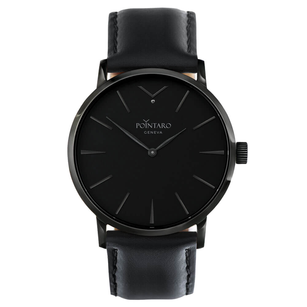 All Black Watch - Black Case Black Dial Watch - Black Leather Watch Straps - Quartz Watch - Swiss Watch