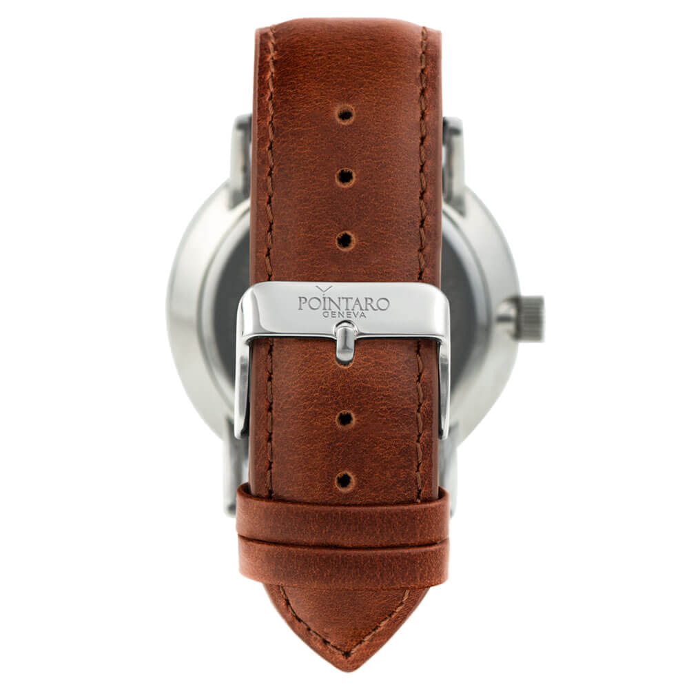 Brown Genuine Leather Strap - Interchangeable Straps - Genuine Leather Strap - Silver Buckle