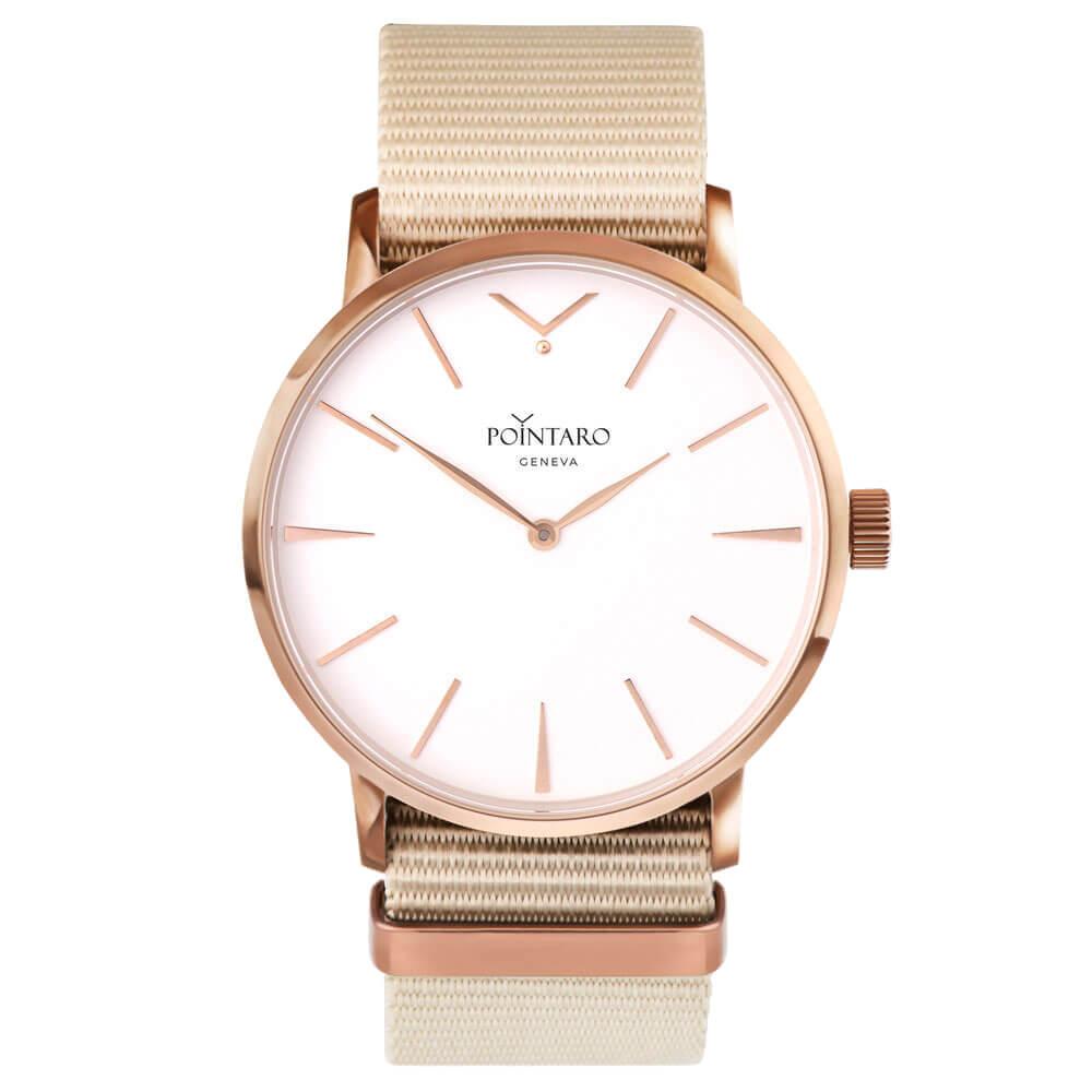 Rose Gold Watch With White Face - Cream Nylon Nato Strap - Men's Watch - Swiss Watch