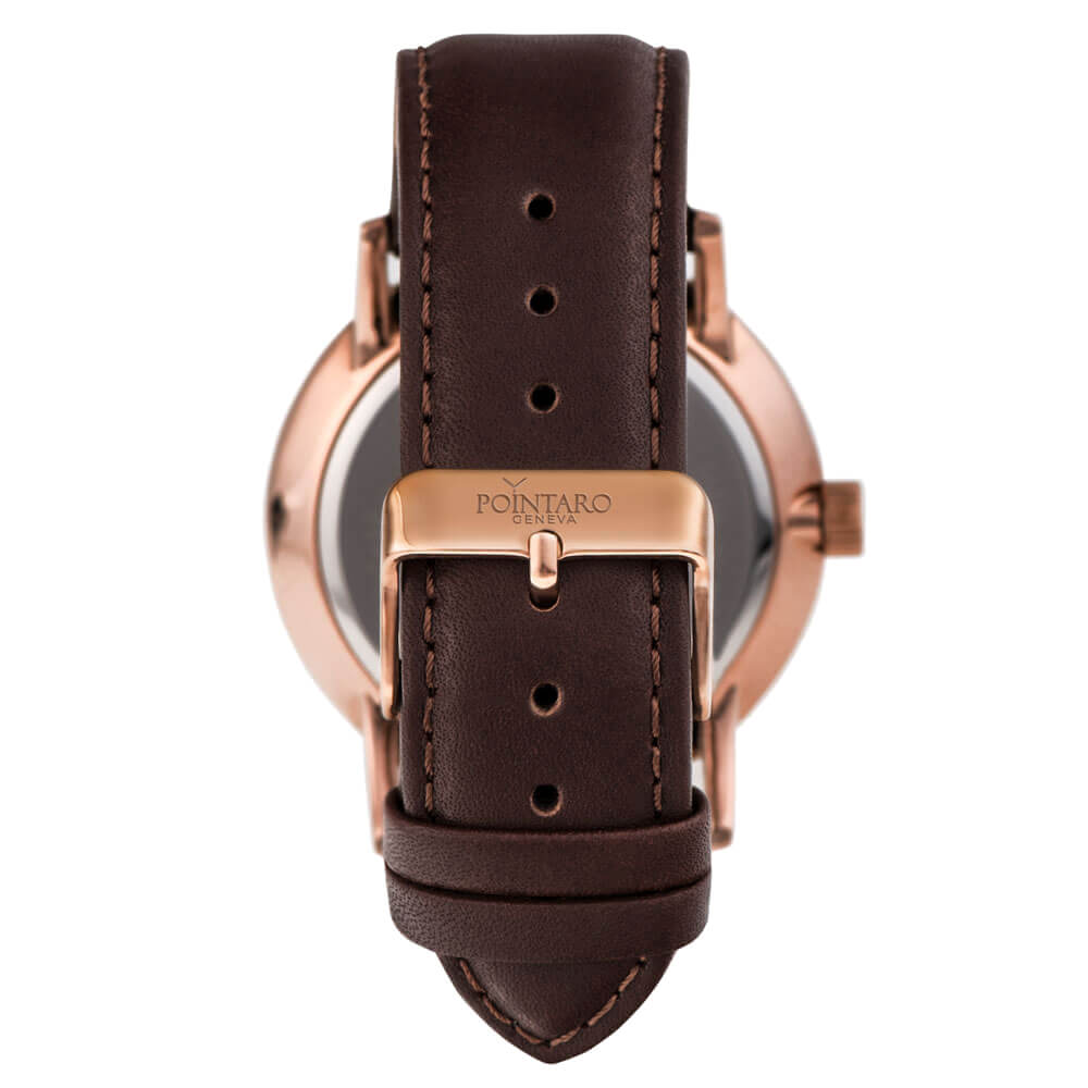 Brown Genuine Leather Strap - Rose Gold Buckle - Watch Straps - Leather Watch Straps -  Leather Strap