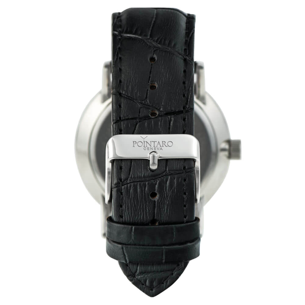 Black Crocodile Watch Strap - Silver Buckle - Watch Strap - Interchangeable Watch Strap