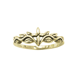 Gold Vine and Leaves Cross Ring