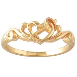 Gold Key and Heart Filigree Ring