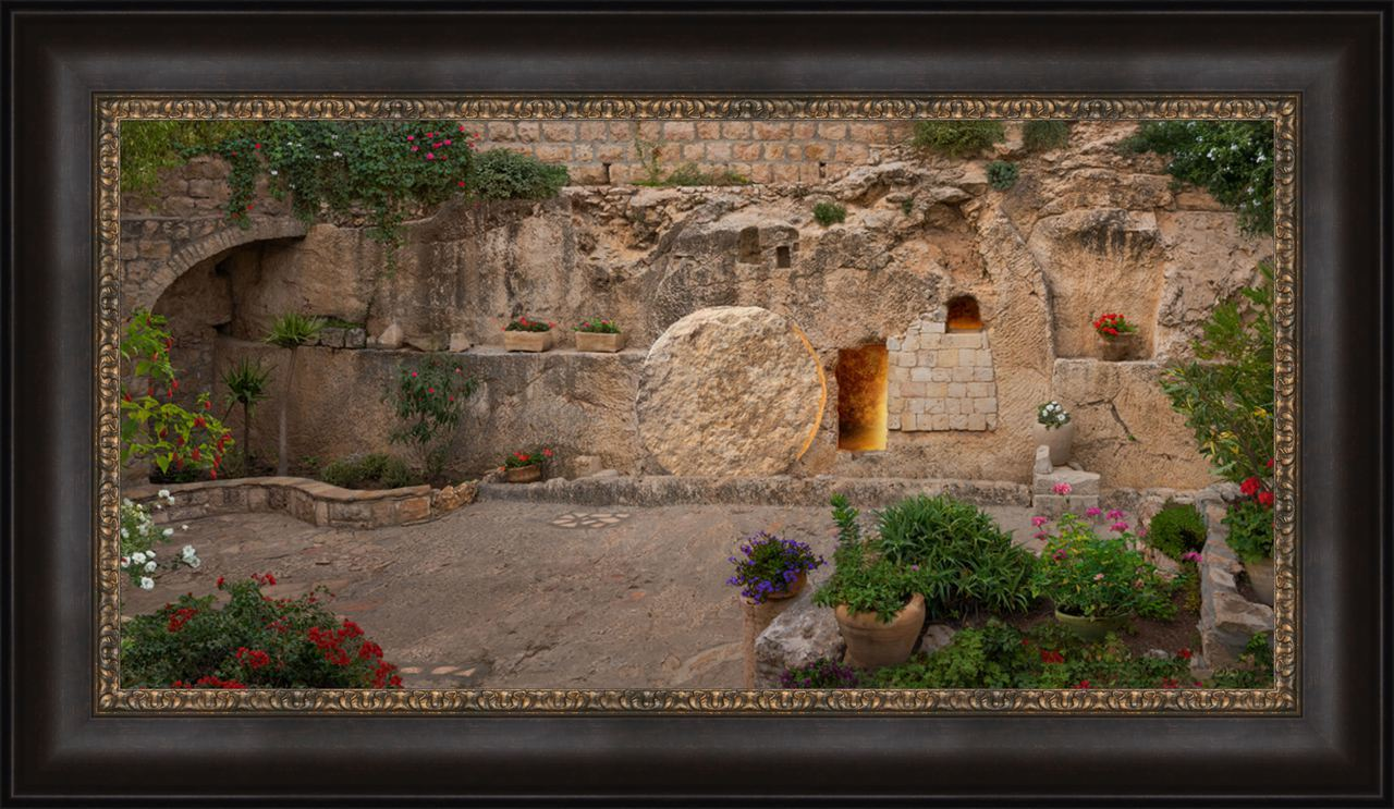The Garden Tomb - Framed chrsit and the tomb, easter framed art, tomb, easter tomb, framed art,