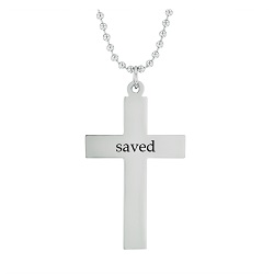 Saved - His Word Cross Necklace his word cross necklace, saved cross necklace, Mark 16:16 cross necklace, scripture cross necklace, scripture necklace