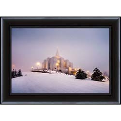 Calgary Temple Foggy Morning - Framed