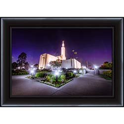 Los Angeles Temple Night Corner - Framed